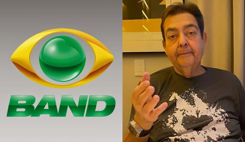 Foto de Faustão montada com a logomarca da emissora Band.