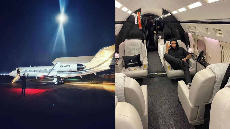 Gusttavo Lima exibe imagens internas de seu jatinho particular. Fonte: Instagram