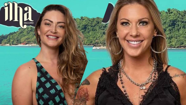 Antonela Avellaneda e Laura Keller trocam beijão no Ilha Record e provocam confusão. Fonte: Montagem/Fashion Bubbles