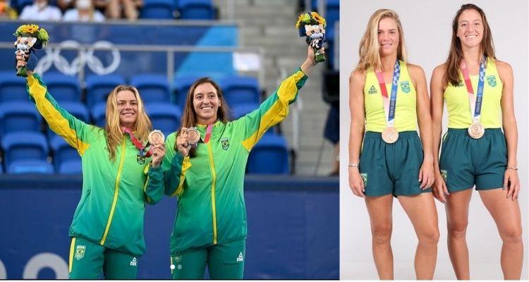 Montagem com duas fotos de Laura Pigossi e Luisa Stefani nas Olimpíadas 2021