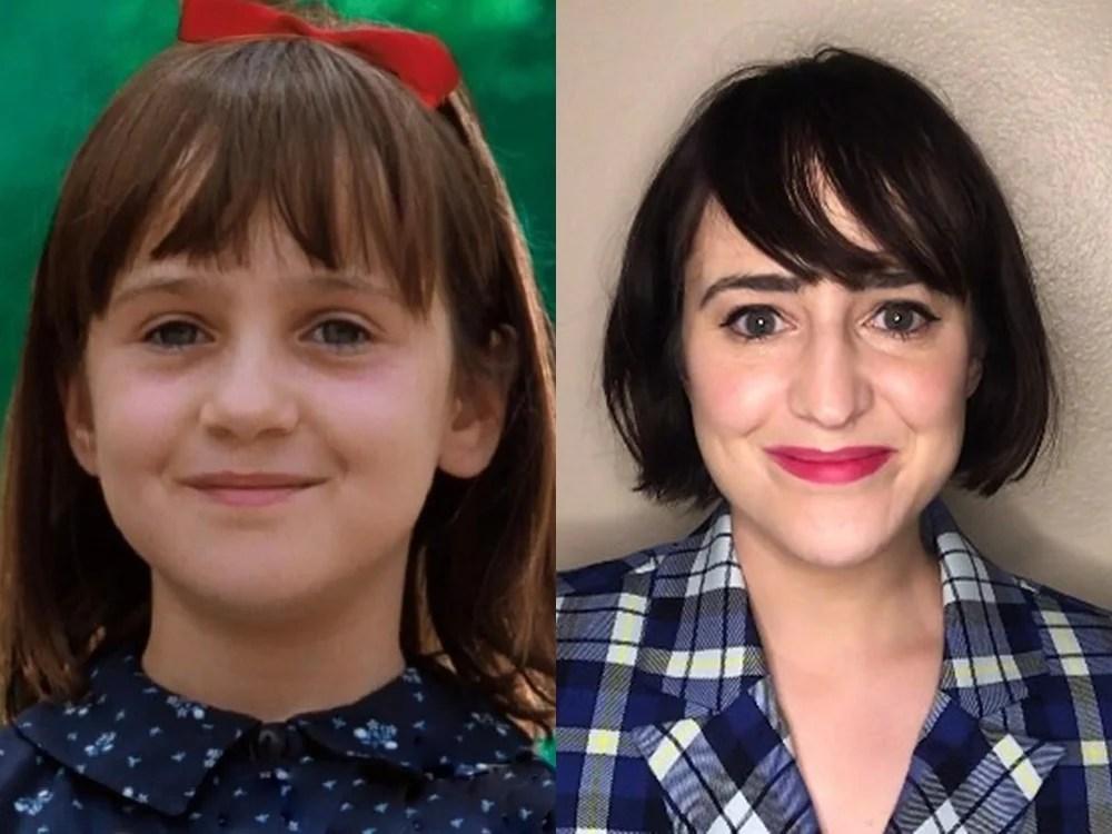Foto da personagem Matilda aos 9 anos e de sua interprete aos 33.