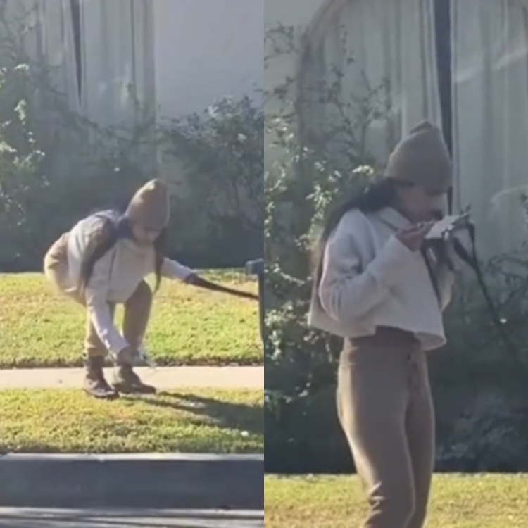 Print do vídeo mostrando o momento em que Mia coloca a máscara suja no rosto.