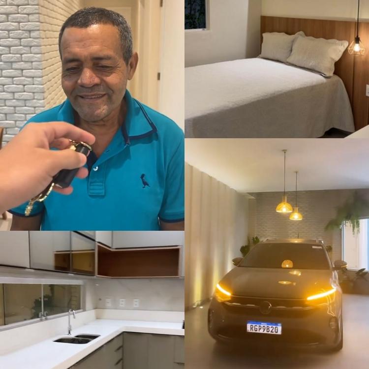 Foto com quatro imagens: duas da casa e duas mostrando o carro do pai.