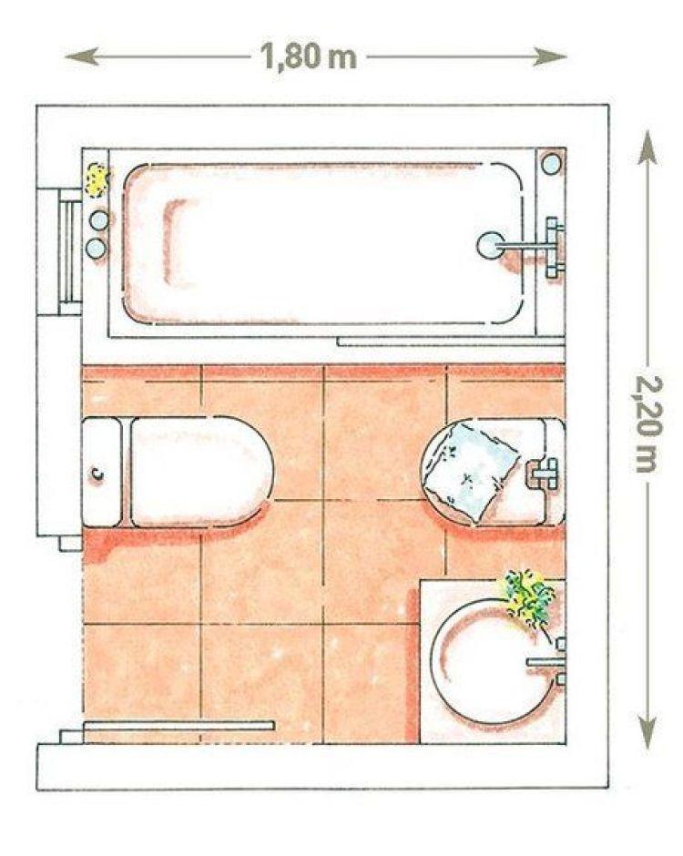 Planta colorida de banheiro.