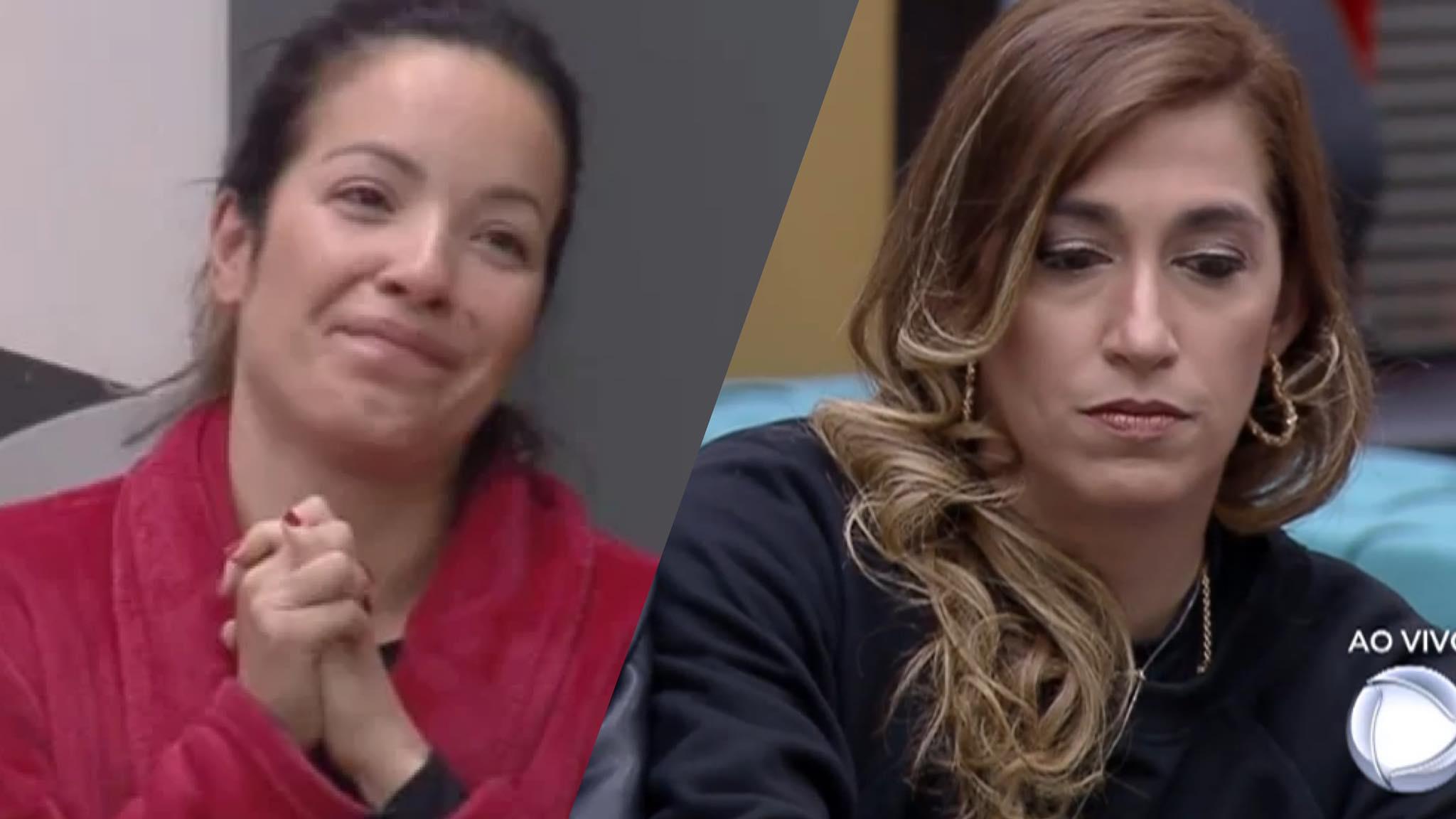 Renata fica incoformada após receber o voto de sua amiga Daniele no Power Couple (montagem: Fashion Bubbles)