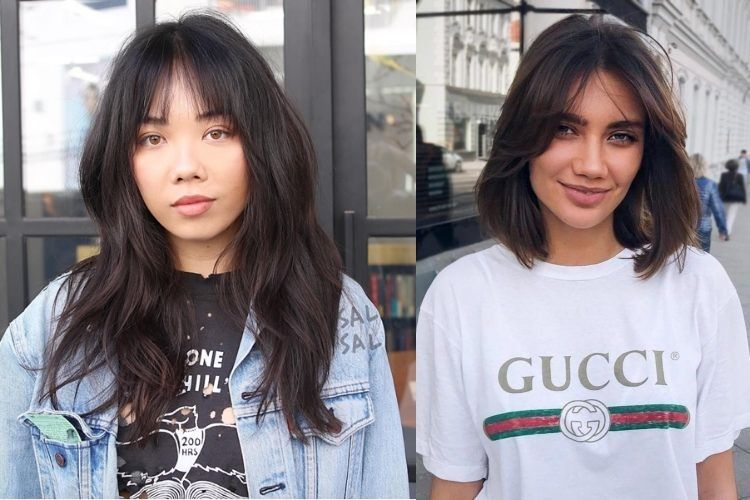 Duas fotos de mulheres com franja cortininha cabelo liso, uma com cabelo longo
