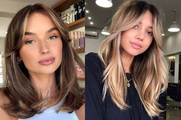 Duas fotos de mulheres com curtain bangs cabelo liso