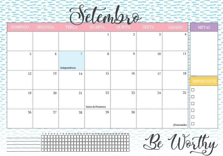 Foto de calendário de setembro do blog Foco na Produtividade