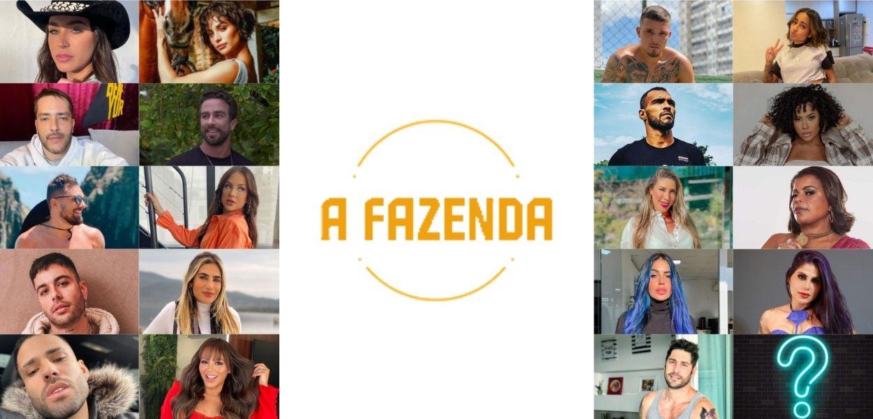 Montagem com logo de A Fazenda e participantes confirmados