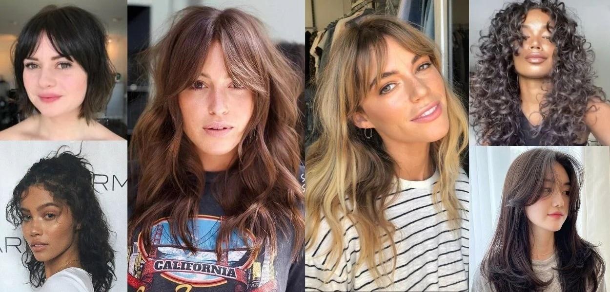 montagem com fotos de mulheres usando curtain bangs ou franja cortininha