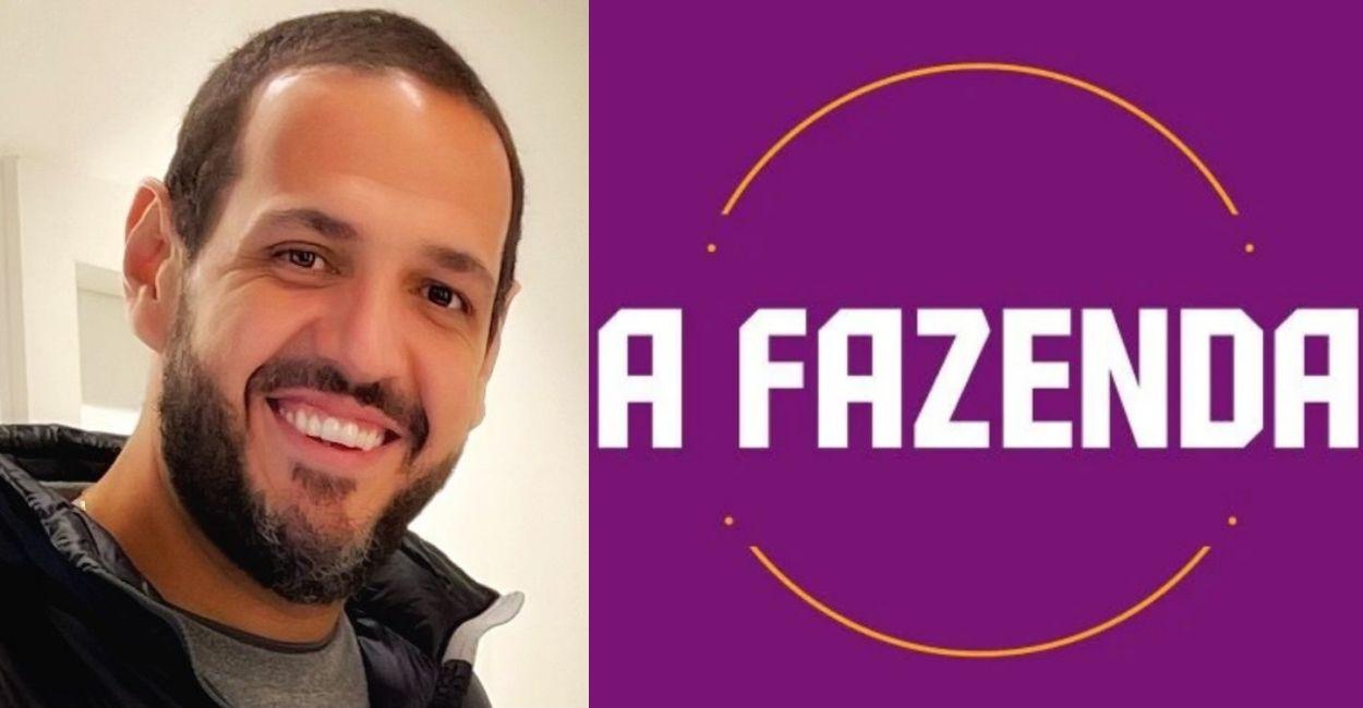 Foto de Fernando Viudez, diretor de A Fazenda, ao lado do logo do reality show