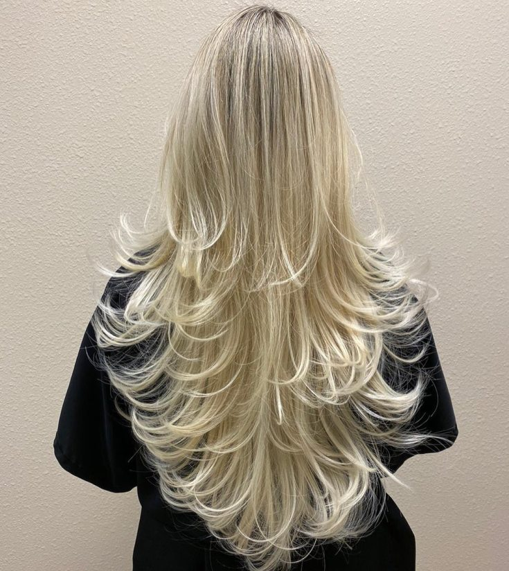 cabelo loiro em camadas