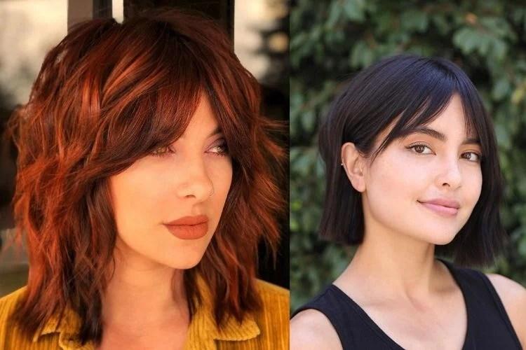 Duas mulheres com corte shaggy hair e blunt cut com franja cortininha