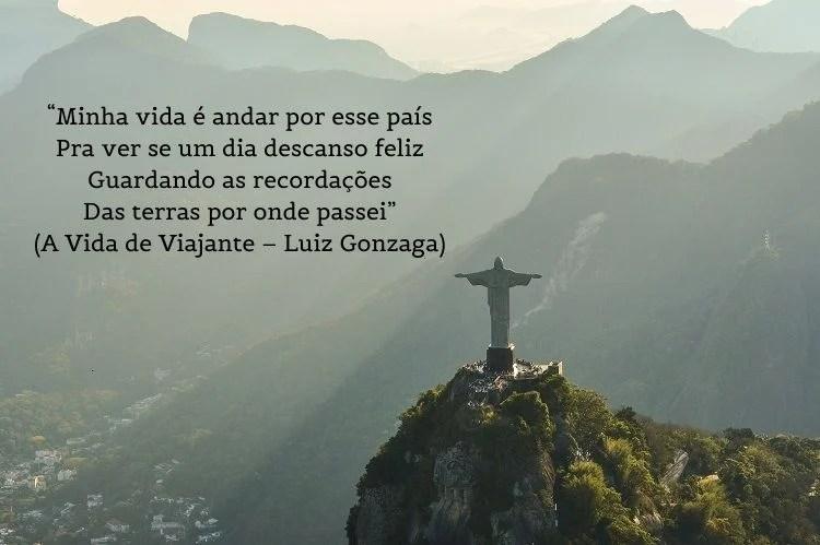 letra de A Vida de Viajante – Luiz Gonzaga sobre foto do Cristo Redentor
