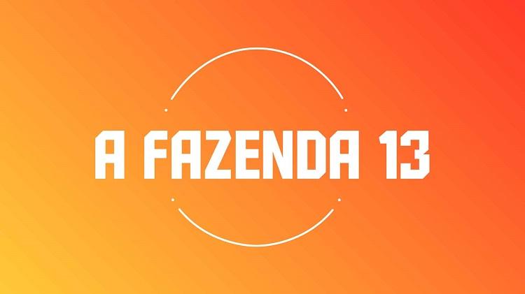 Imagem do logo de A Fazenda 2021 em branco com fundo laranja