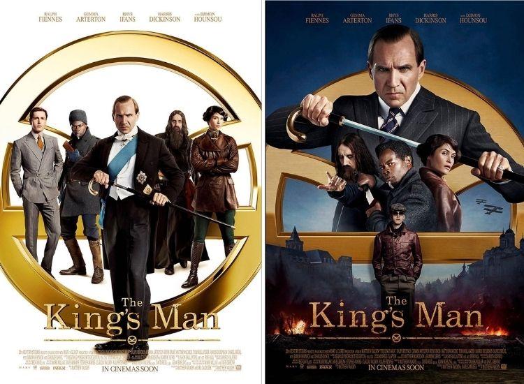 montagem com dois cartazes do filme The King's Man