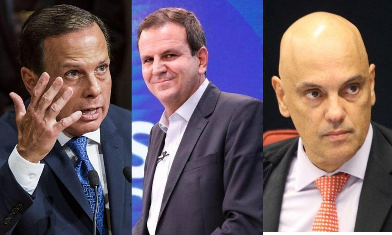 Imagem do Dória, Paes e Moraes representando o impeachment contra governadores, prefeitos e ministros do STF.