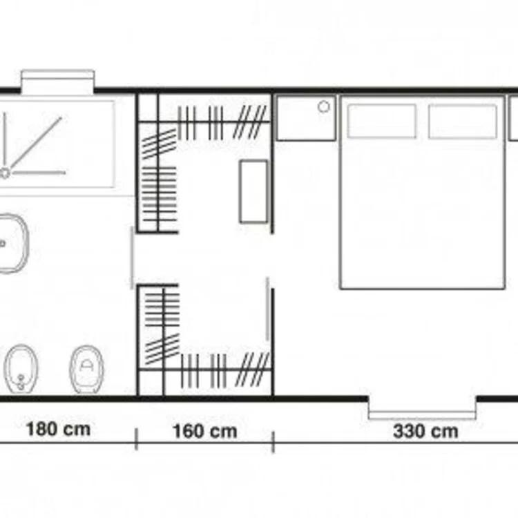 Planta de quarto com closet comprido.