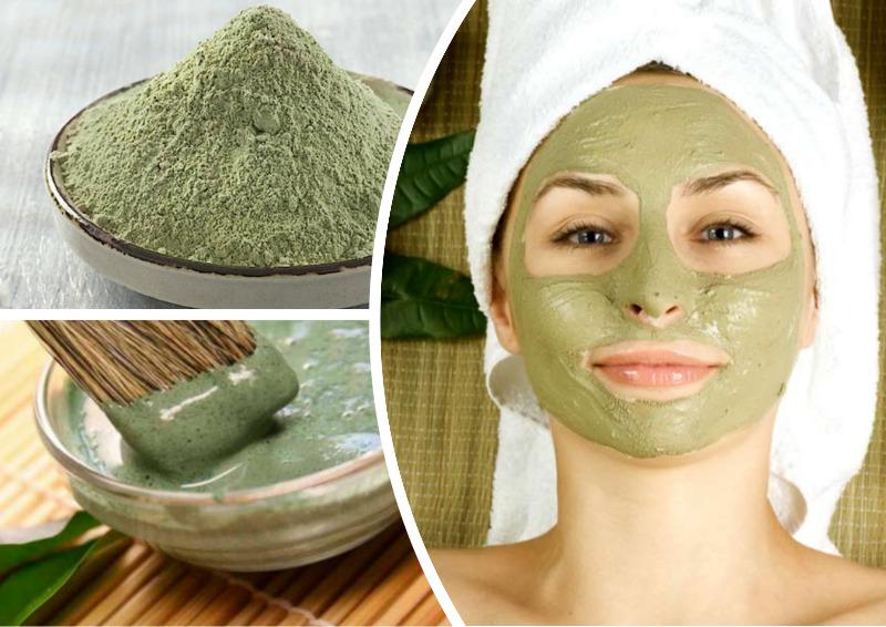 argila verde em pó e mulher com máscara de argila verde