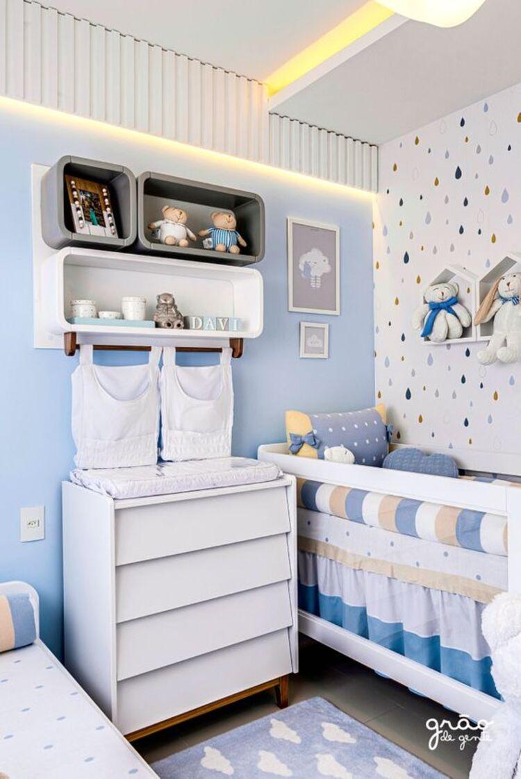 Azul na decoração de quarto de bebê.