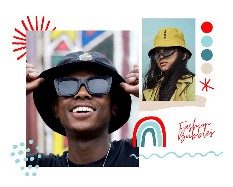 Foto de pessoas usando Bucket Hats, tendências dos anos 90 invoga em 2021.