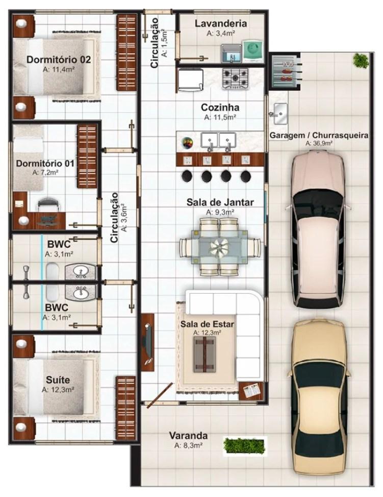 Casa com 3 quartos e dois carros.