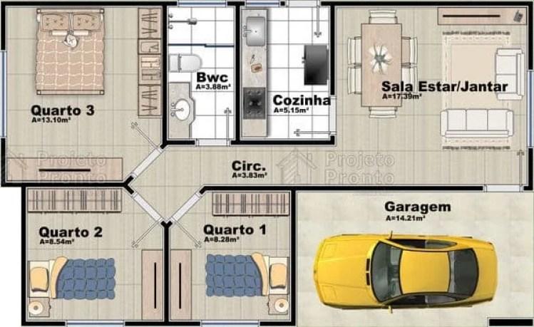 Casa com 3 quartos, sendo dois iguais.