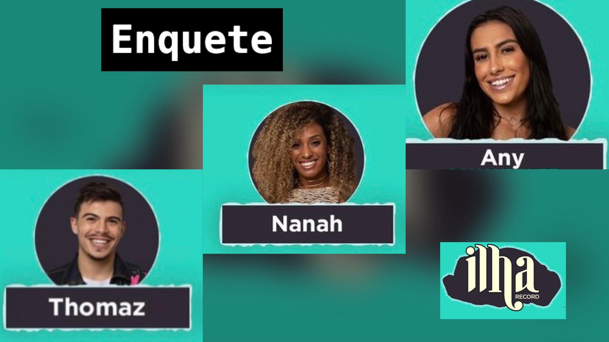 Any, Nanah e Thomaz estão no Desafio de Sobrevivência do Ilha Record. Dessa forma, vote na Enquete. Fonte: Montagem/ Fashion Bubbles