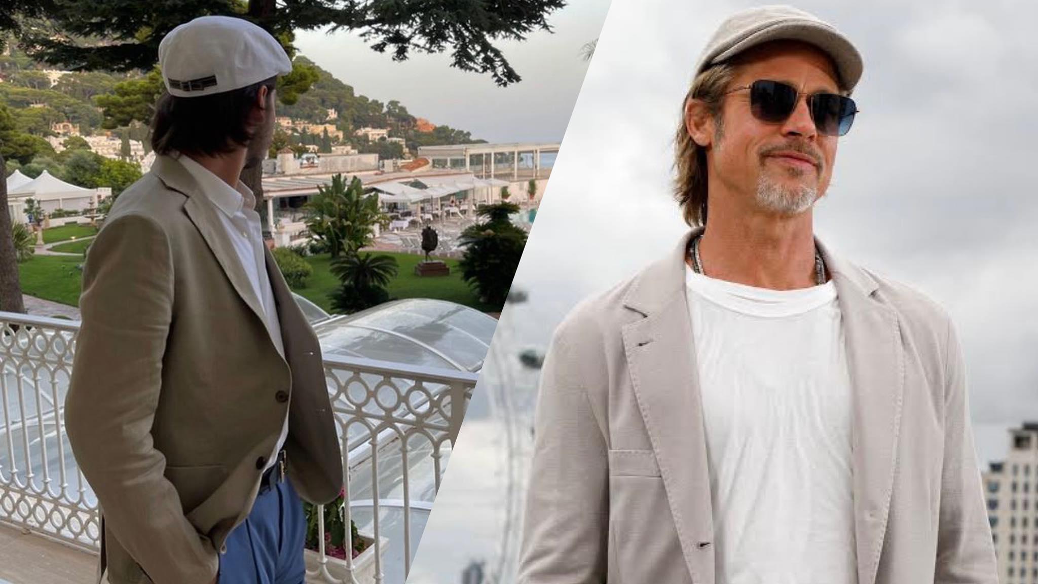 """Filho do Faustão, João Guilherme """"é flagrado"""" de perfil na Itália e seguidores comparam estilo do jovem à de Brad Pitt e Leonardo DiCaprio. Fonte: Montagem/ Fashion Bubbles"""