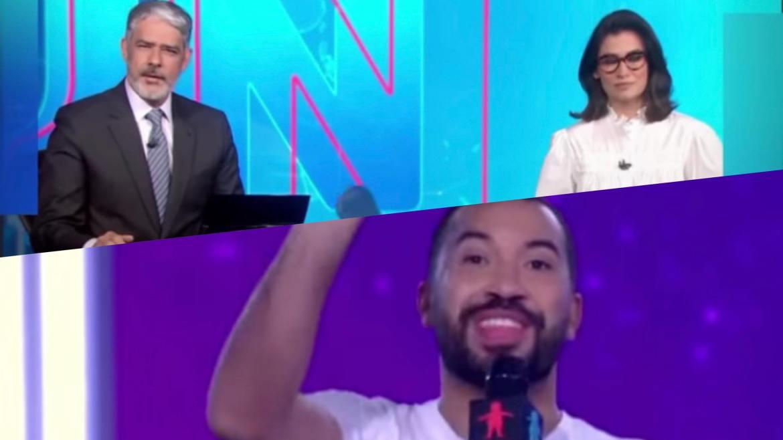 Gil do Vigor se empolga durante entrada no Jornal Nacional para falar do Criança Esperança. Fonte: Montagem/ Fashion Bubbles