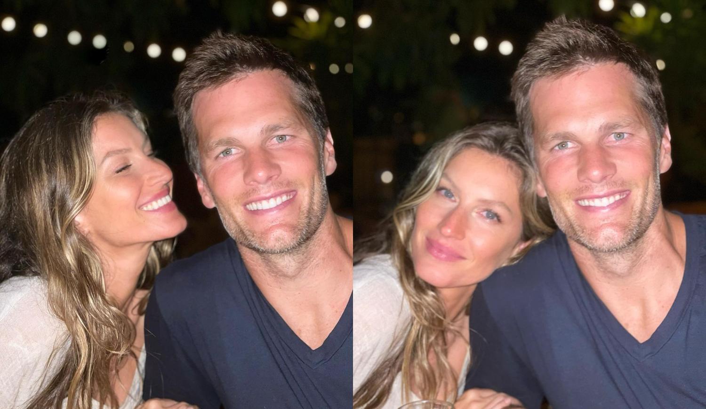 Fotos de Gisele Bündchen e Tom Brady.
