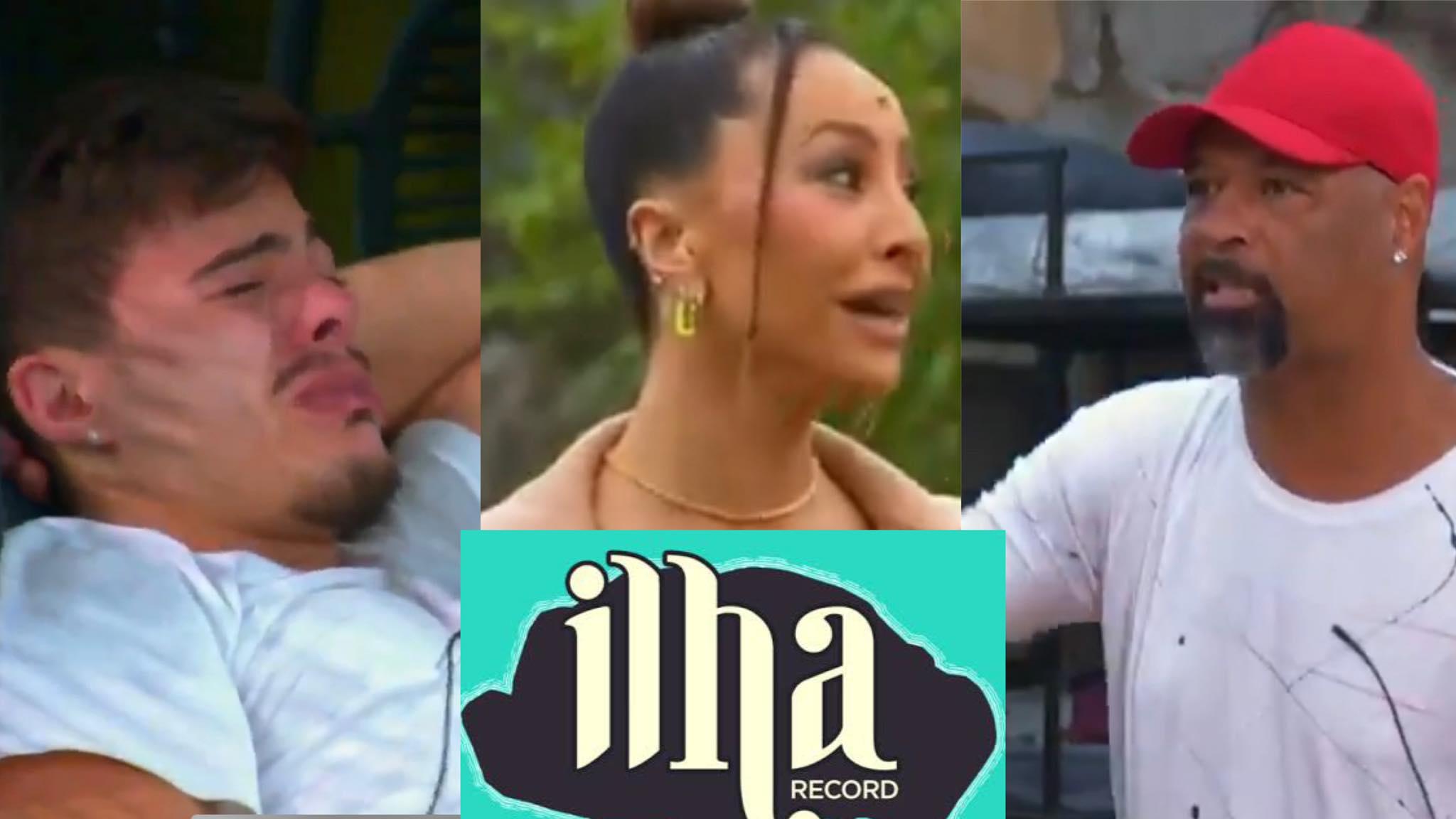 Thomaz Costa chora após perceber vingança de Dinei no Ilha Record. Fonte: Montagem/ Fashion Bubbles
