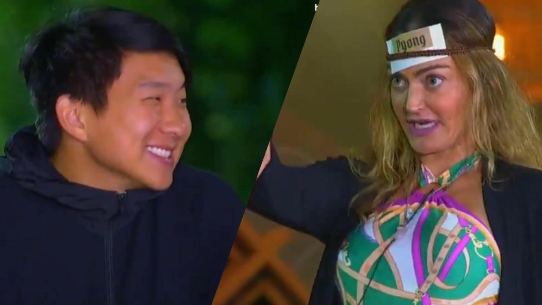 Laura cutuca Pyong no Jogo da Discórdia do Ilha Record. Fonte: Montagem/ Fashion Bubbles