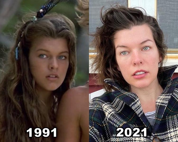 """Foto de Milla, atriz de """"De Volta à Lagoa Azul"""", em 1991 e em 2021."""