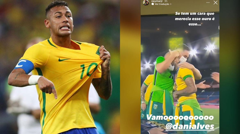 Neymar lembra da vitória do Brasil nas Olimpíadas de 2016 e faz homenagem ao amigo Daniel Alves. Montagem: Fashion Bubbles