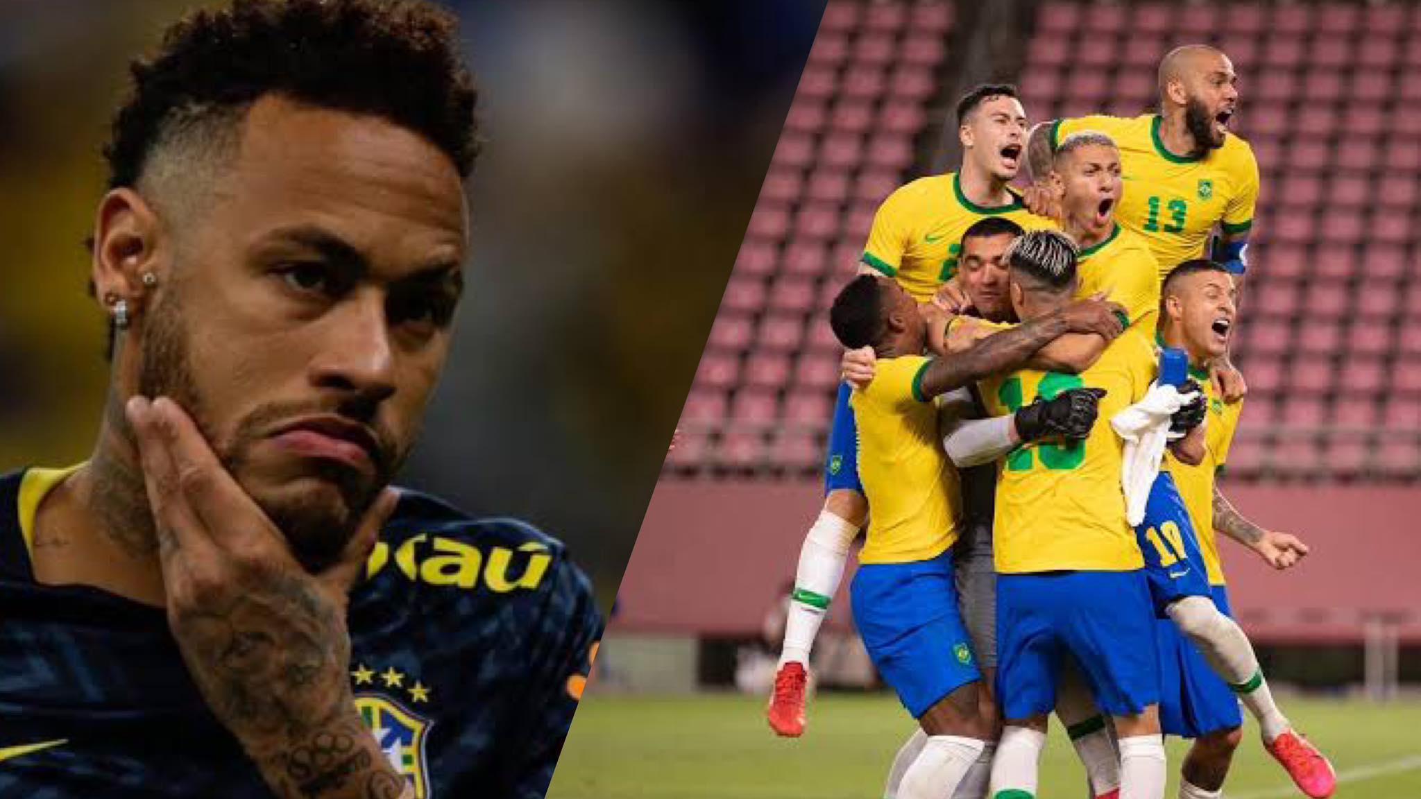 Neymar reage nas redes sociais sobre a vitória do Brasil nas Olimpíadas do Japão. Fonte: Montagem: Fashion Bubbles