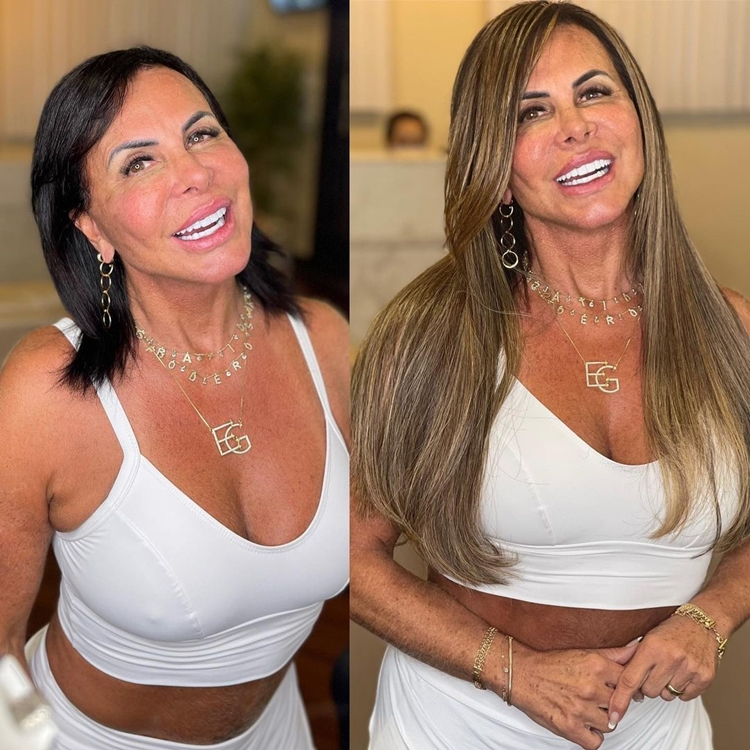Foto com o antes e depois da mudança no visual.