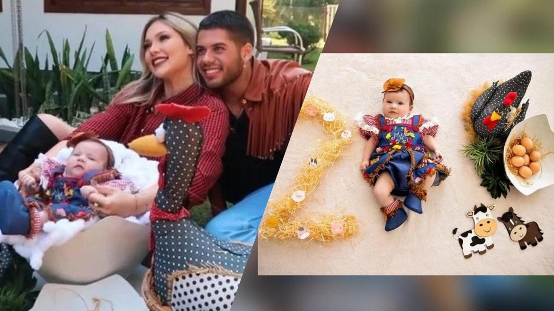 Zé Felipe e Virgínia Fonseca comemoram os 2 meses de Maria Alice. Fonte: Montagem Fashion Bubbles