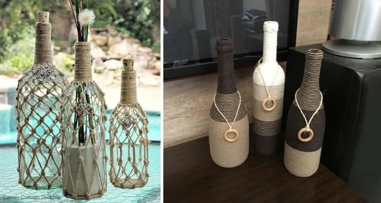 Fonte: Pinterest Montagem com duas fotos de garrafas decoradas com barbante
