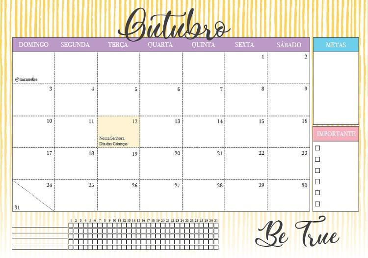 Foto de calendário de outubro de 2021 do blog Foco na Produtividade