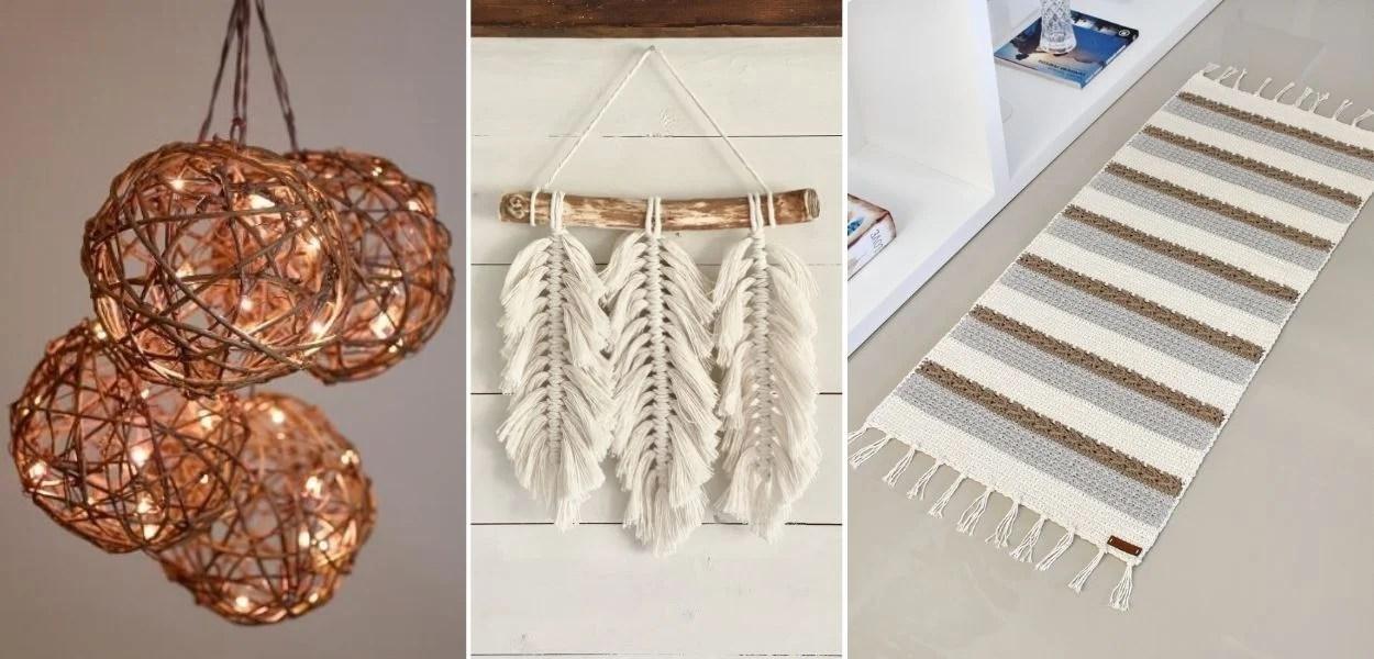 montagem com três fotos de artesanato com barbante, uma luminária, um hanger e um tapete