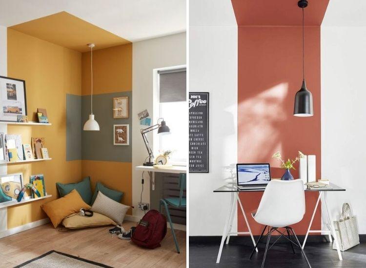 Montagem com duas fotos de pintura setorizada