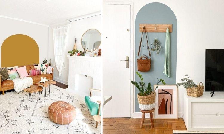Montagem com duas fotos de pintura de arco na parede