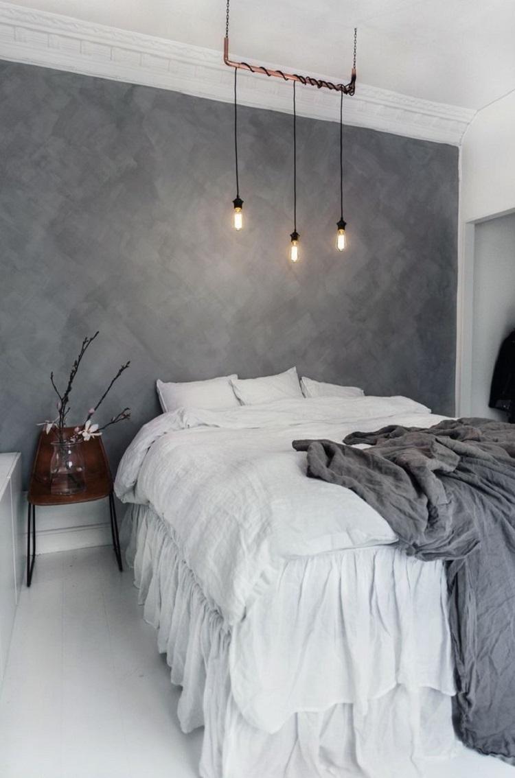 Foto de quarto com parede de cimento queimado