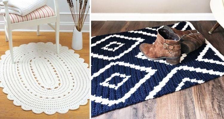 Montagem com duas fotos de tapete de crochê com barbante