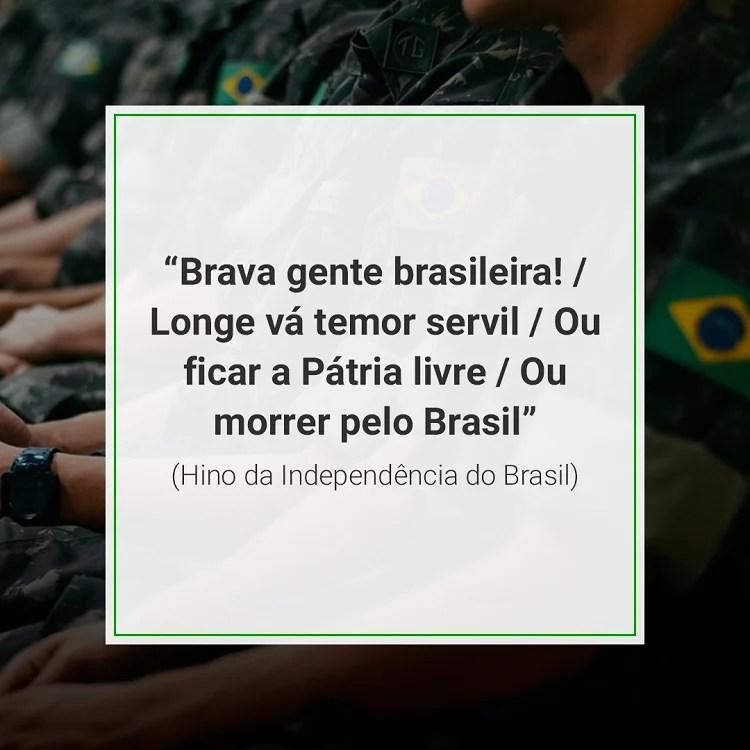 foto de militares brasileiros com hino da Independência do Brasil
