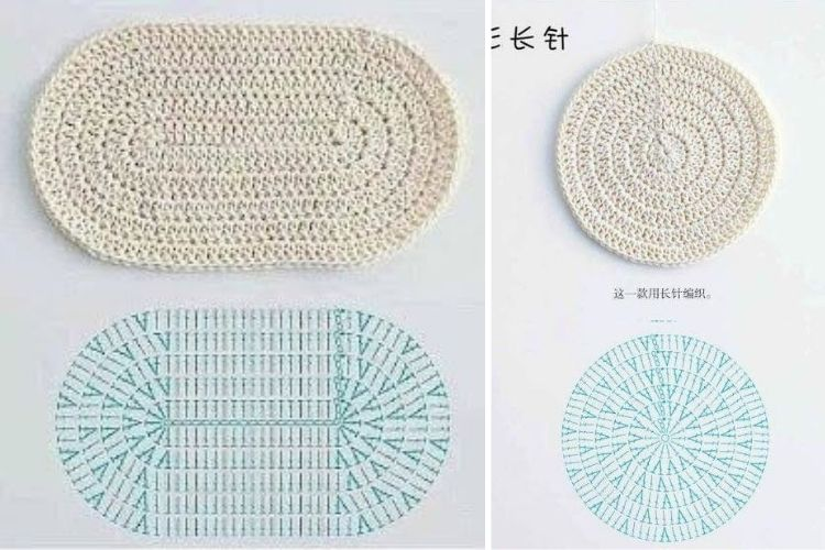 Montagem com dois gráficos de crochê para artesanato com barbante