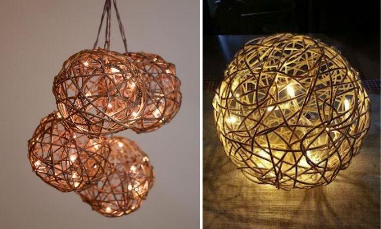 Montagem com fotos de duas luminárias feitas com barbante