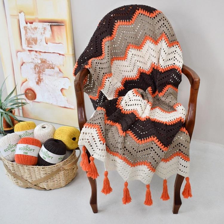 Foto de manta em artesanato com barbante
