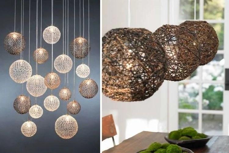 Montagem com fotos de duas luminárias pendentes